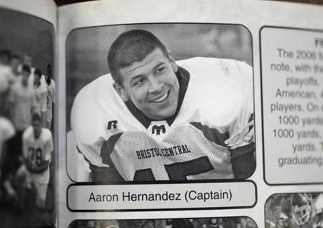 Aaron Hernandez set several state records in high school. Above, his yearbook photo from Central Bristol High School.